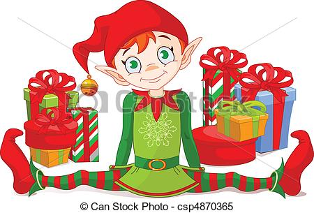 450x305 Christmas Elf With Gifts. Christmas Elf Sitting With A Pile