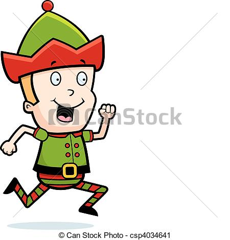 450x470 A Happy Cartoon Christmas Elf Running And Smiling. Vector Clip Art