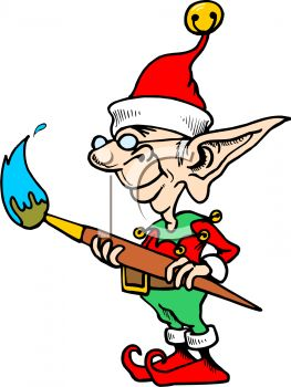 263x350 Royalty Free Clip Art Image Nearsighted Little Elf With A Paint
