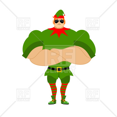 400x400 Strong Elf. Christmas Guards. Royalty Free Vector Clip Art Image