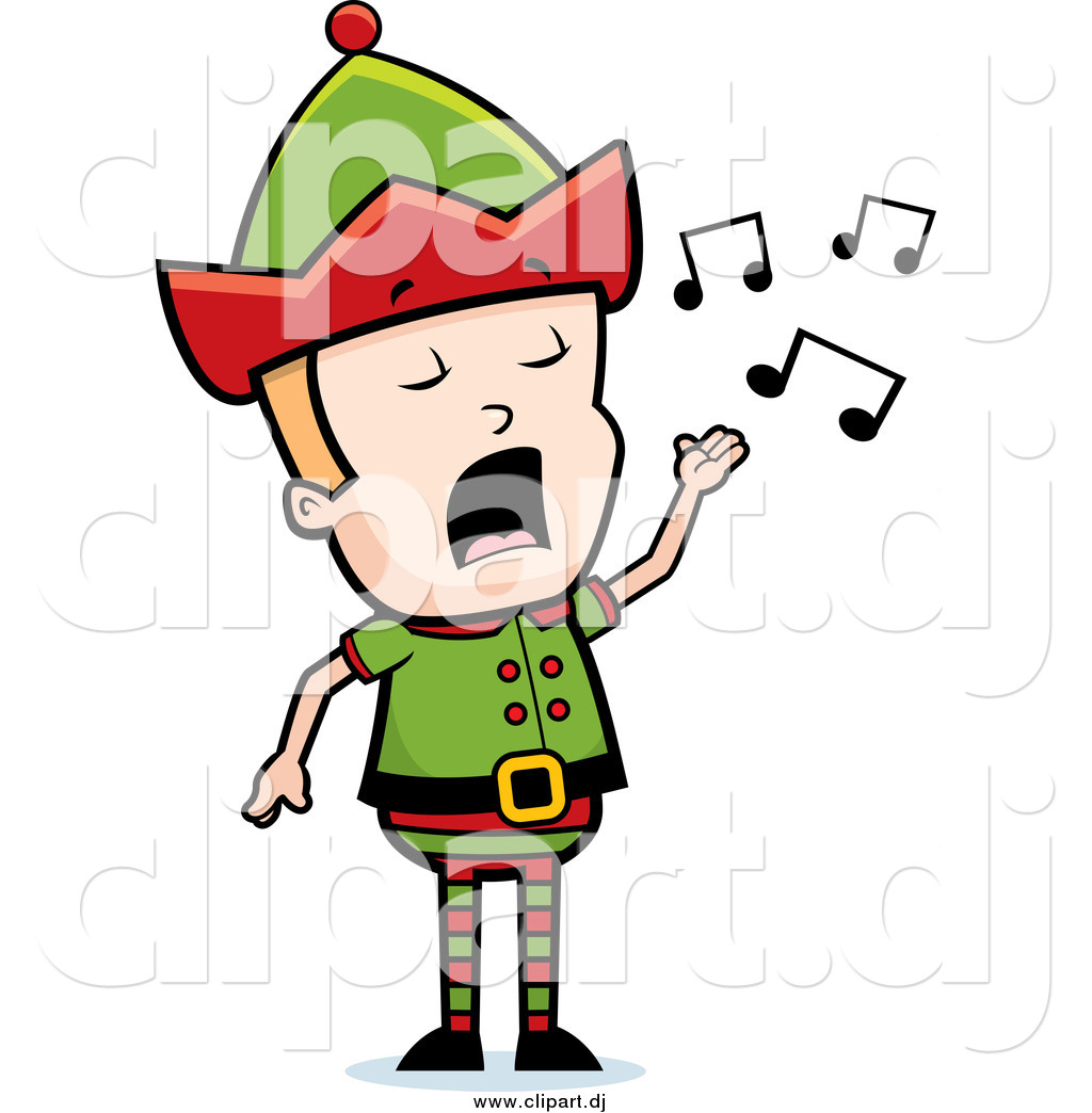 1024x1044 Cartoon Vector Clipart Of A Blond Male Christmas Elf Singing By