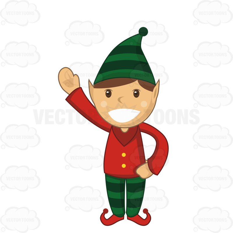 800x800 Christmas Elf With A Big Smile Waving Cartoon Clipart Vector Toons