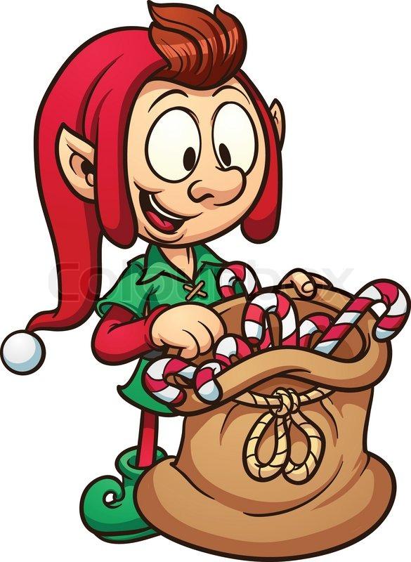 585x800 Cute Cartoon Christmas Elf With A Bag Of Candy. Vector Clip Art