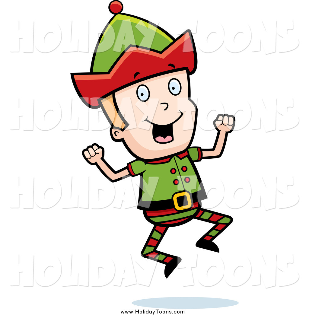 1024x1044 Royalty Free Holiday Cartoon Of A Blond Christmas Elf Jumping By