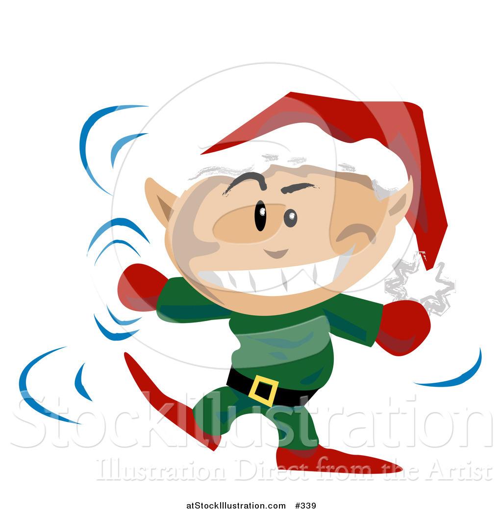 1024x1044 Vector Illustration Of A Christmas Elf Wearing A Santa Hat