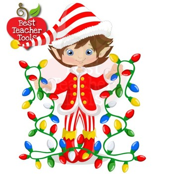 350x350 Christmas Clipart, 15 Elves Cliparts With Christmas Lights, Amb 1132