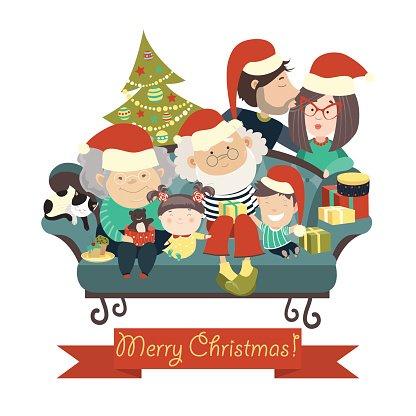 416x416 Family Celebrating Christmas Premium Clipart