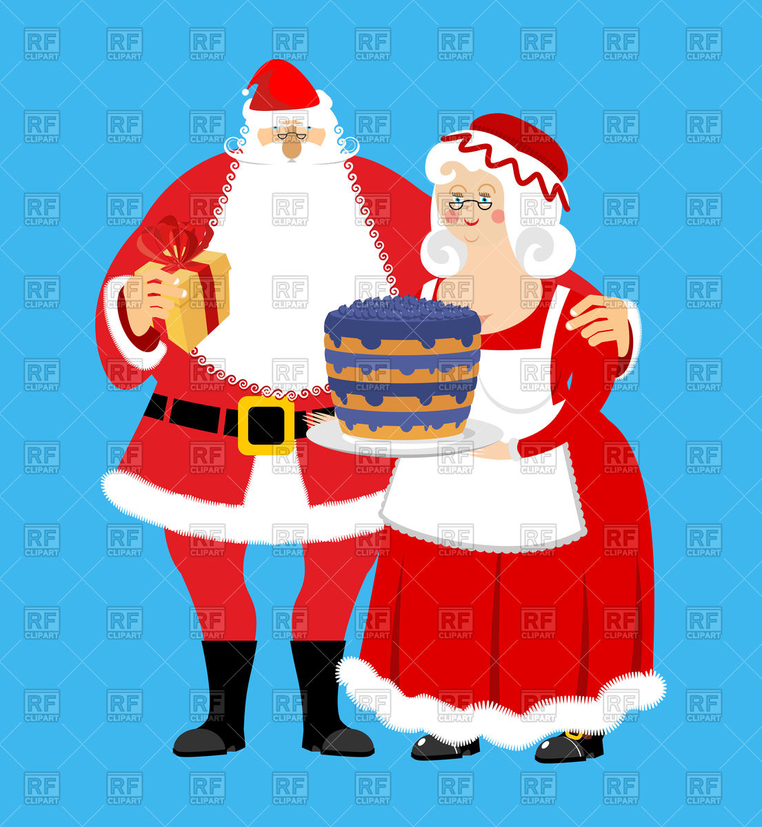 1105x1200 Santa And Mrs. Claus With Gifts And Bilberry Cake, Christmas