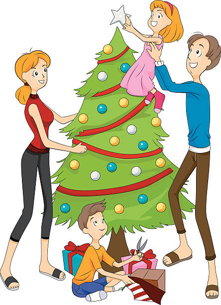 444x612 Collection Of Family Decorating Christmas Tree Clipart High