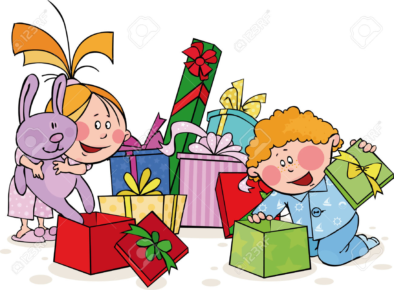 1300x958 Collection Of Family Opening Christmas Presents Clipart High