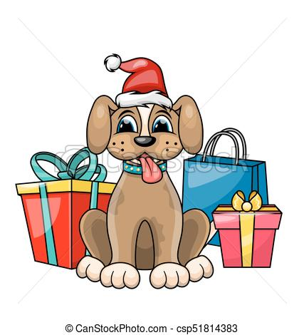 427x470 Christmas Dog In Red Santa Hat With Gift Boxes, Presents