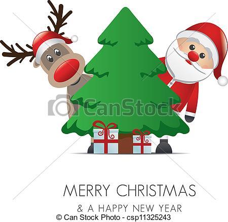 450x439 Reindeer Santa Claus Christmas Gift Box Tree Eps Vector