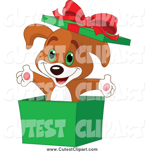 600x620 Vector Cliprt Surprise Christmas Puppy Popping Out