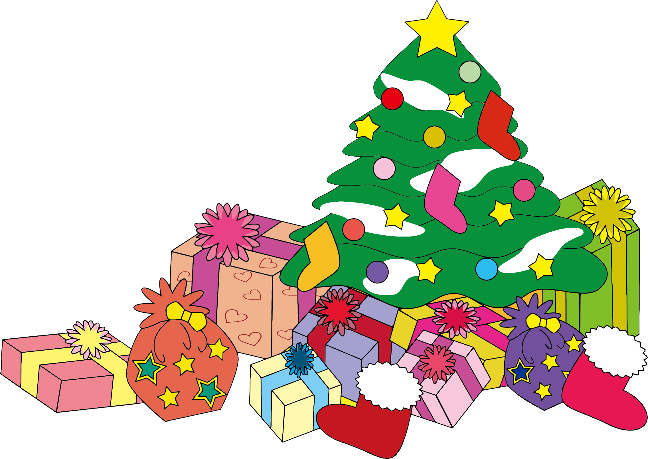 2272x1609 Christmas Tree With Gifts Clipart Merry Christmas And Happy New