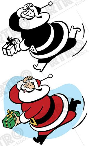 308x504 Santa Claus Rushes To Deliver A Last Minute Christmas Gift Retro