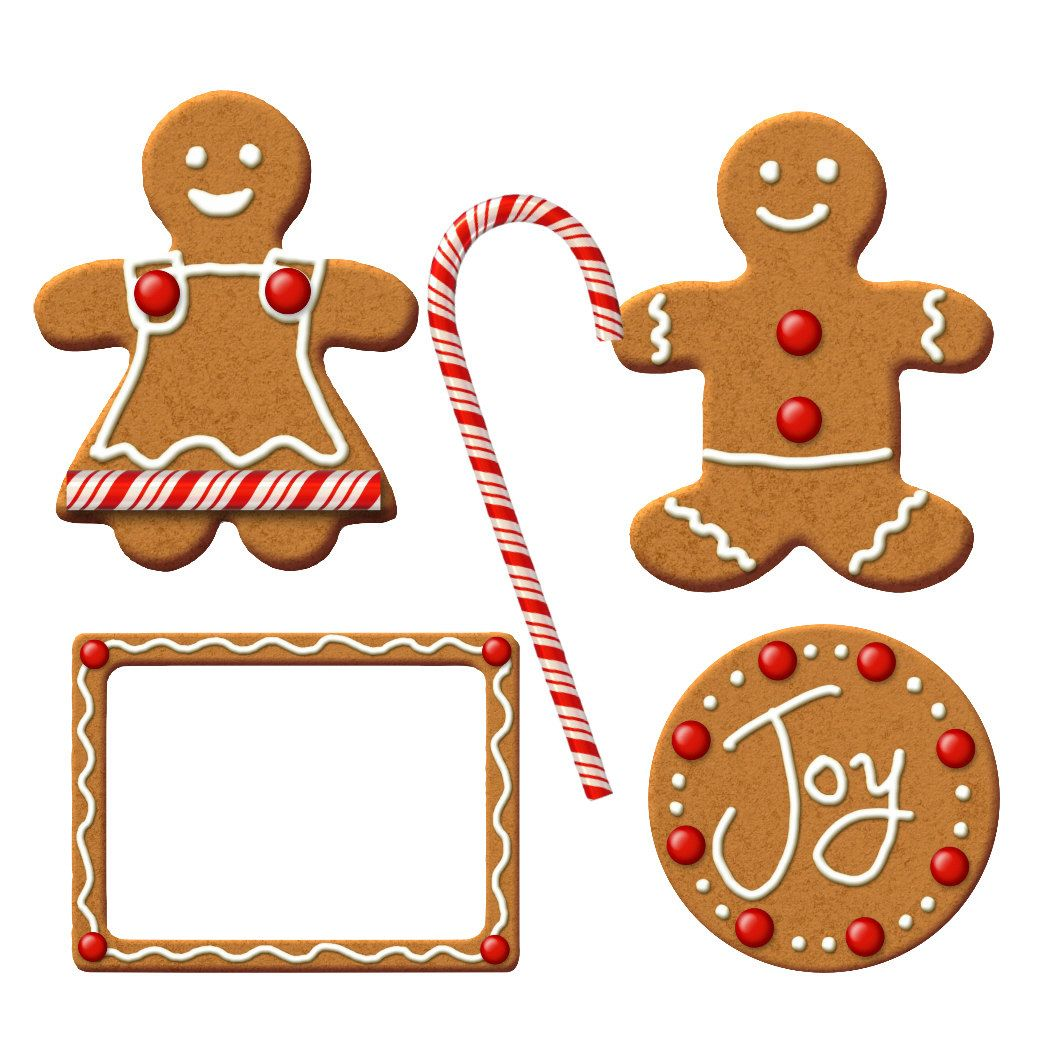 1056x1056 Christmas Gingerbread Clipart Kit 5 By Familyfotos On Etsy