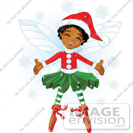 450x450 Clip Art Illustration Of A Happy African Xmas Fairy Girl In Xmas