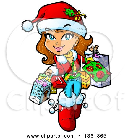 450x470 Clipart Of Cartoon Blond White Christmas Pinup Woman Posing In