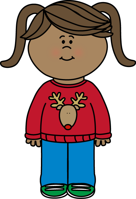 462x677 Girl Wearing A Christmas Sweater Clip Art