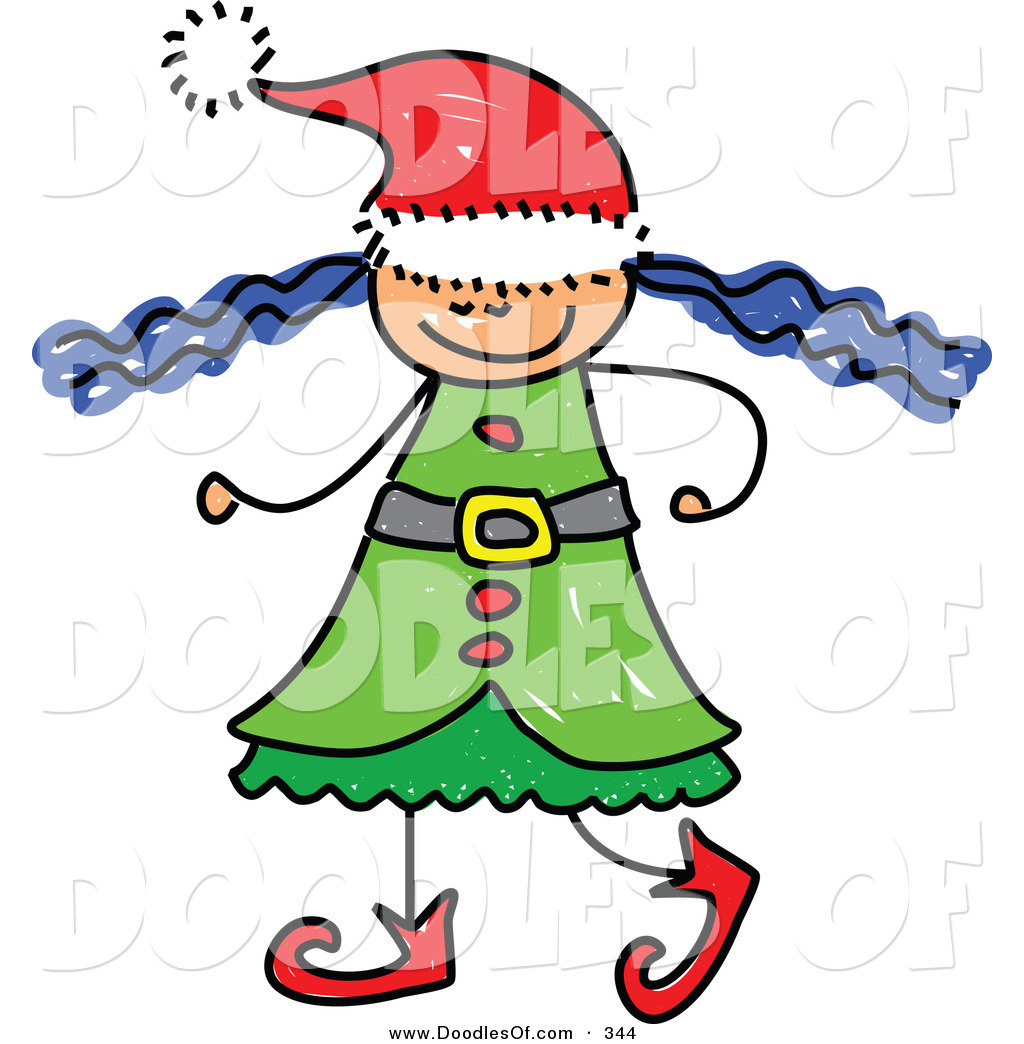 1024x1044 Vector Clipart Of A Childs Sketch Of A Christmas Elf Girl