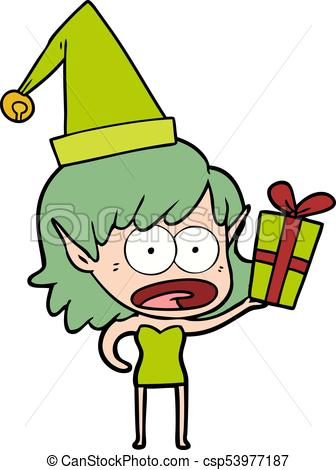 336x470 Cartoon Shocked Christmas Elf Girl Vector