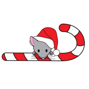 300x300 Clip Art Of A Cute Little Christmas Mouse, Wearing A Santa Hat