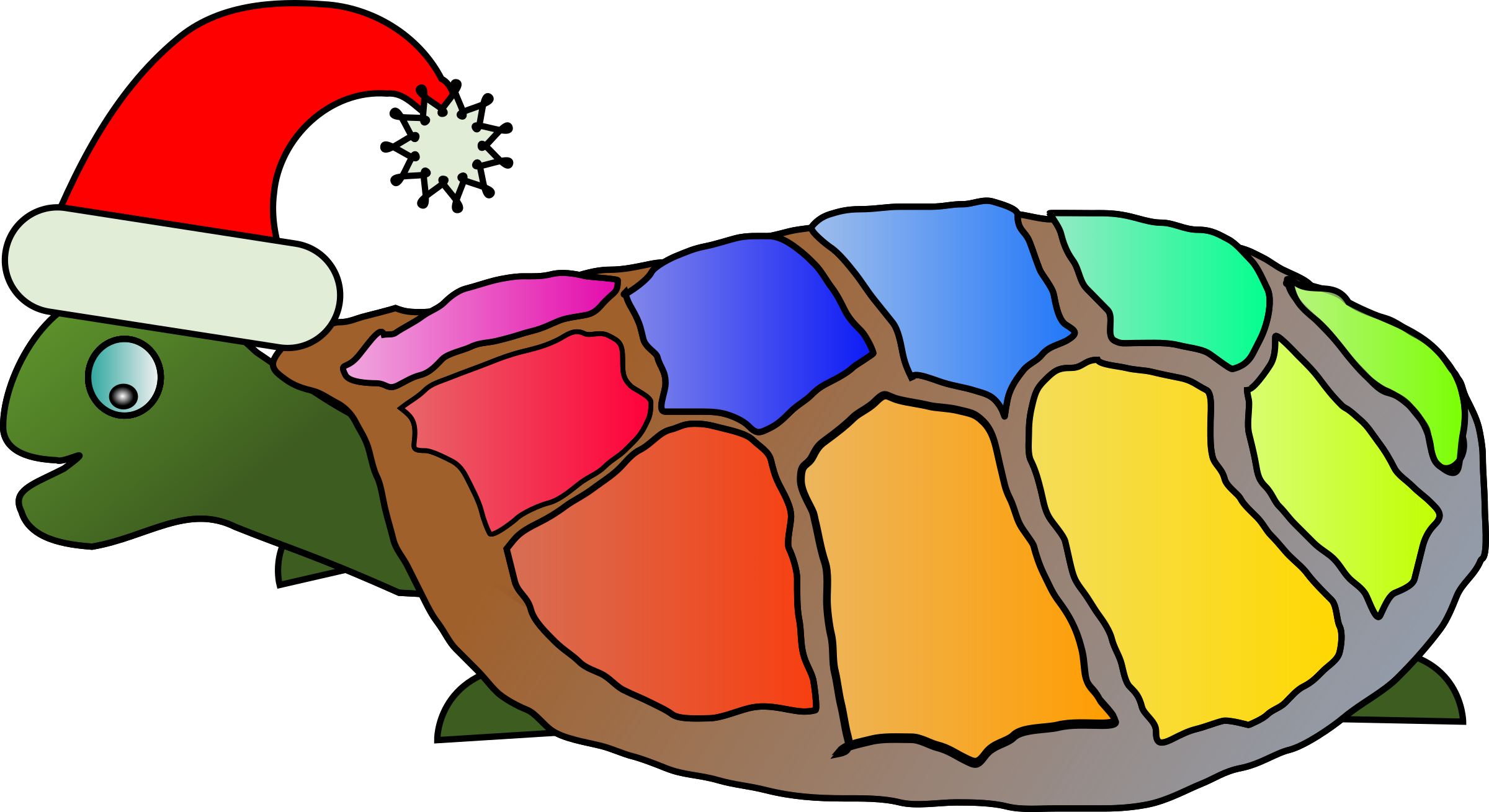 2400x1309 Funny Turtle With Santa Hat Icons Png