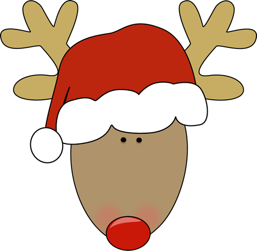 500x488 Reindeer Head With Santa Hat Clip Art