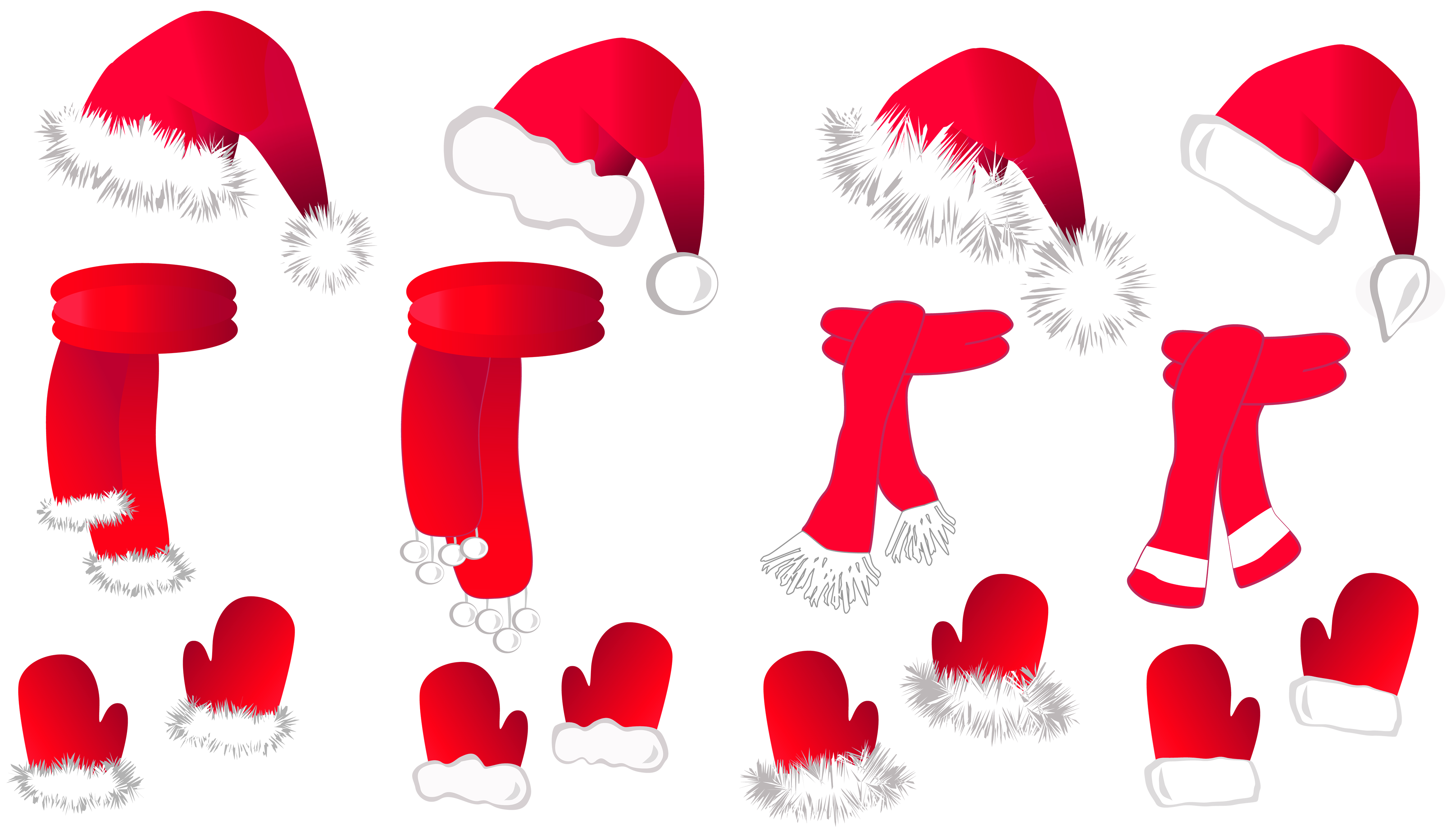4048x2314 Transparent Christmas Santa Hat And Scarfs Collection Png Clipart