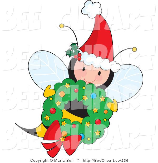 600x620 Vector Clip Art Of A Cute Female Fairy Honey Bee Wearing A Santa
