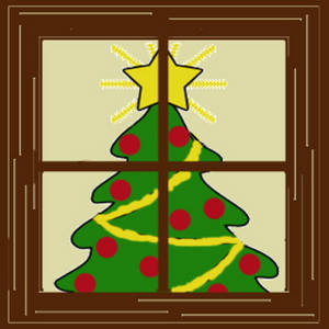 300x300 Free Clipart Picture Of A Christmas Tree Seen Through A Window