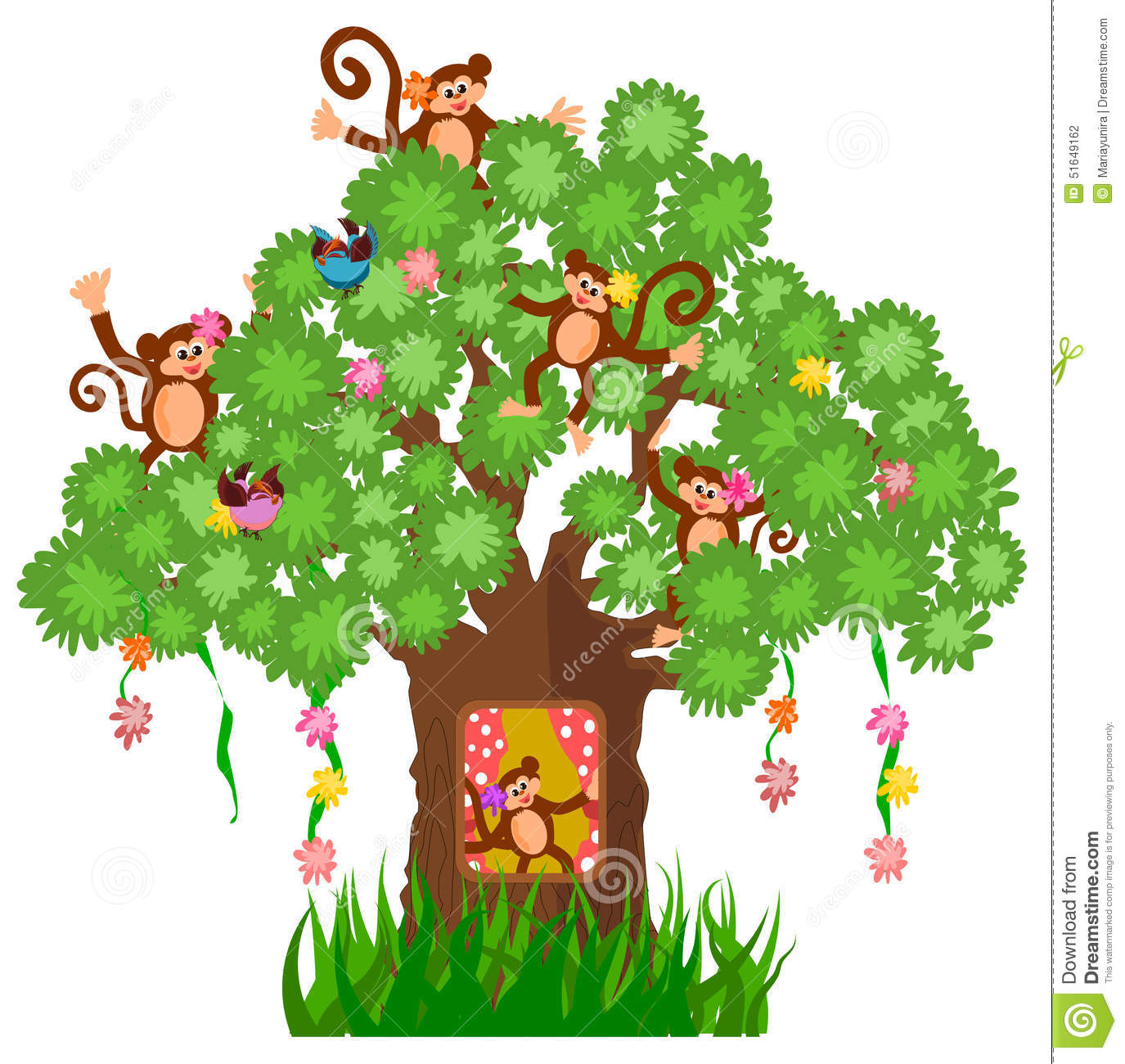 1375x1300 Monkey In A Tree Clipart Monkey Collection 007