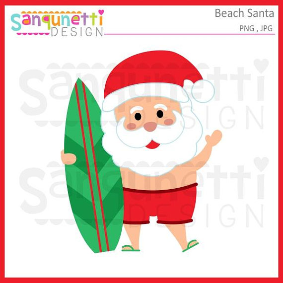 570x570 Beach Santa Clipart Santa Clipart Christmas In July Santa