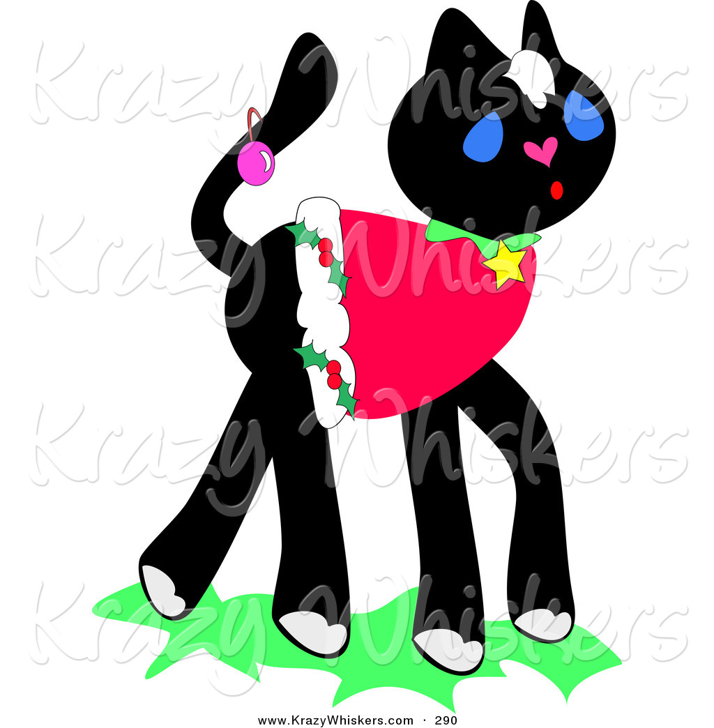 1024x1044 Critter Clipart Of A Festive Black Kitten Wearing A Christmas