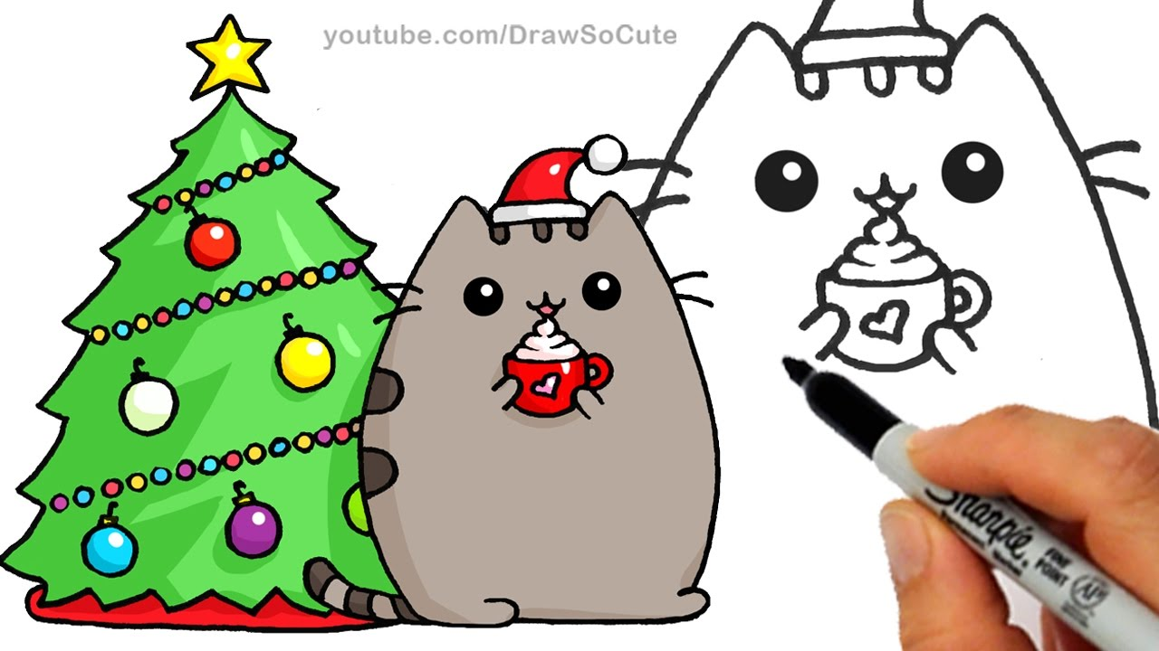 1280x720 How To Draw Christmas Holiday Pusheen Cat Step By Step Easy