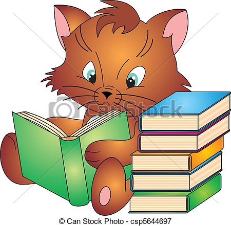 450x442 Cat Reading Clipart