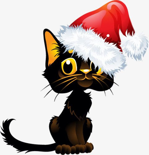 480x500 Black Cat With Christmas Hats, Black, Kitty, Christmas Hats Png