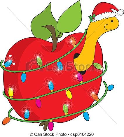 425x470 Christmaspple Worm. Cute, Smilingpple Worm Wearing