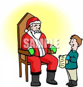 288x300 A Boy Reading His Christmas Wish List To Santa Claus