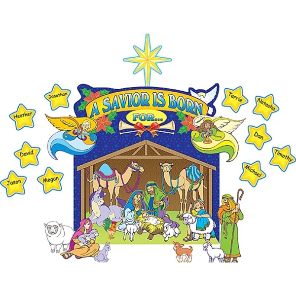 600x600 Nativity Scene Bulletin Board Religious Classroom Decorations