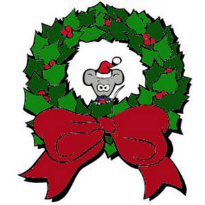 300x300 Free Color Clipart Image Of A Christmas Mouse Sitting In A Wreath