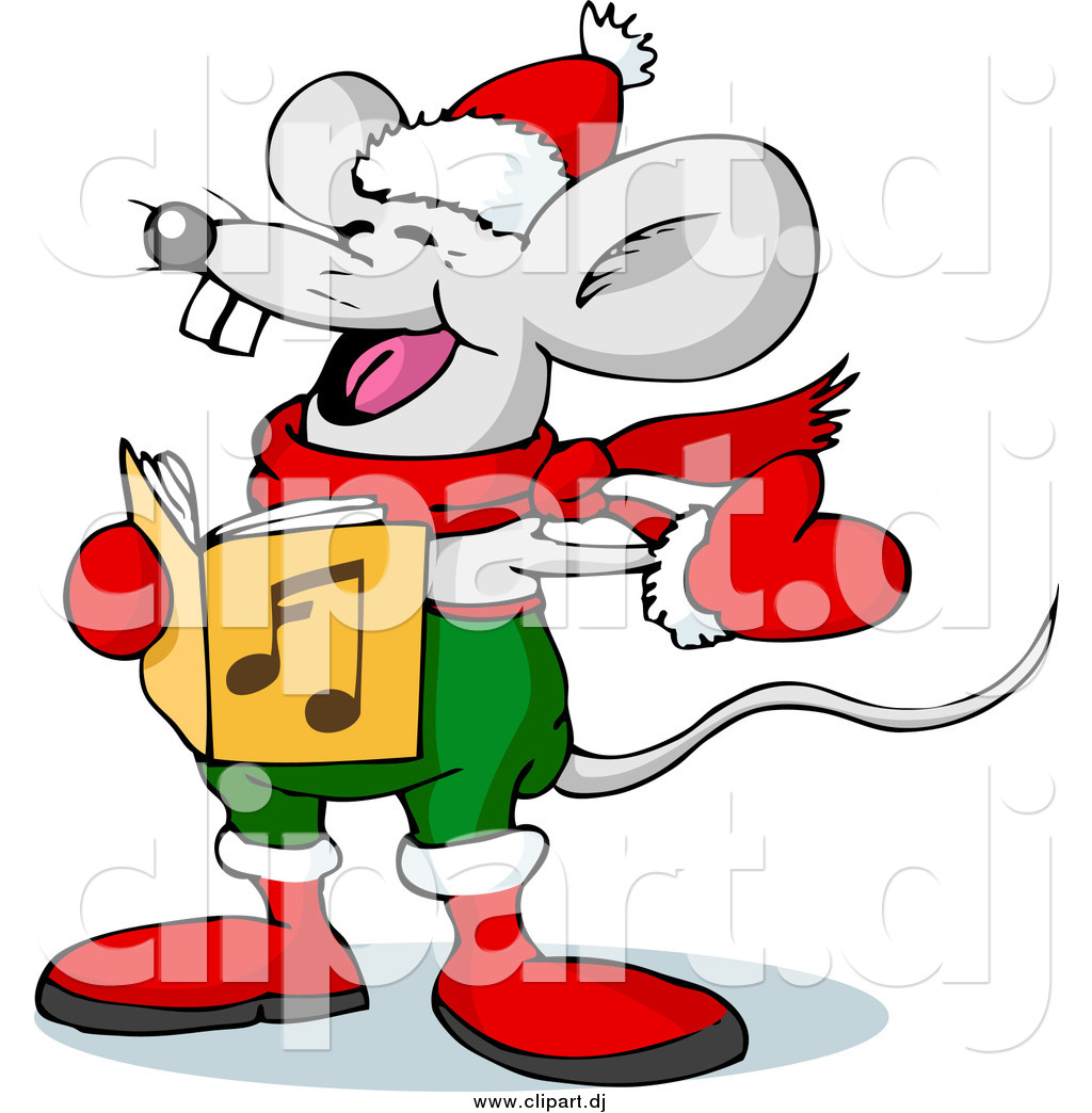 1024x1044 Vector Clipart Of A Mouse Singing Christmas Carols On Xmas Eve By