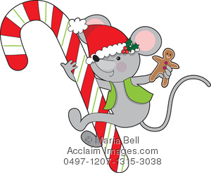 300x246 Candy Cane Mouse Clipart Image