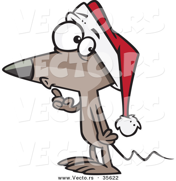 600x620 Cartoon Vector Of A Christmas Mouse Gesturing To Be Quiet By