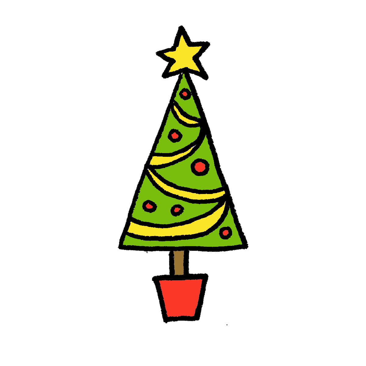 1200x1200 Excellent Cartoon Christmas Tree 26 Kids At Collection 007 Paper