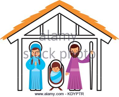 389x320 Traditional Christmas Nativity Scene Of Baby Jesus In The Manger