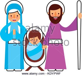 344x320 Christmas Nativity Scene Holy Family Jesus Mary And Joseph Stock