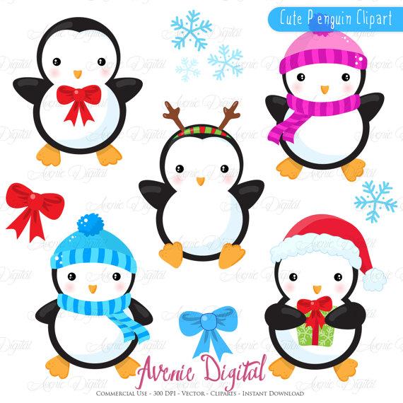 570x570 Christmas Penguins Clipart Scrapbook Printables, Holiday Clip Art