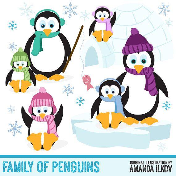 570x570 Hand Drawn Vector Penguins Clip Art