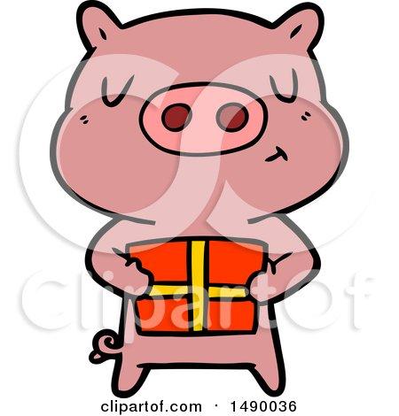 450x470 Clipart Cartoon Christmas Pig By Lineartestpilot
